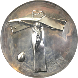 Vintage 1972 Salvador Dali Sterling Silver Crucifix Stylized Christ Easter Plate