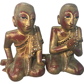 Pr Antique Asian Burmese Gilt Wood Carved Jeweled Buddhist Monks
