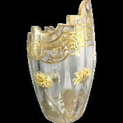 Antique Mont Joye French Art Glass Vase Enamel Dandelion Flowers Gilt France