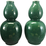 Pair Antique Chinese Porcelain Apple Green Crackle Gourd Vase