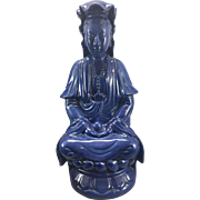 Antique Chinese Porcelain Blue Monochrome Kwan Yin Seated On Lotus Guanyin