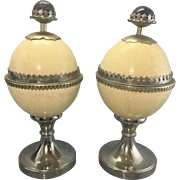 Pr Vintage Anthony Redmile Ostrich Egg Nickel Silver Covered Urns W Amethyst Stone Finial
