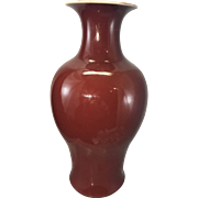 Antique Chinese Porcelain Monochrome Oxblood Sang De Boeuf Vase