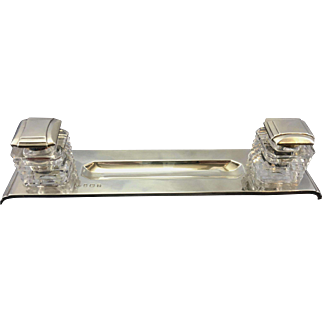Mappin & Webb Sterling Silver Inkwell Edinburgh Cut Crystal Jars Art Deco Period