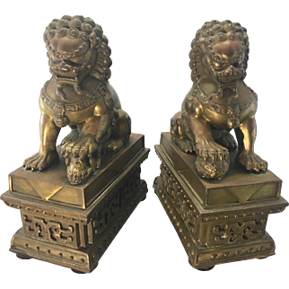 Vintage Bronze Table Top Chinese Foo Dogs Lions Shi Shi Asian Sculpture
