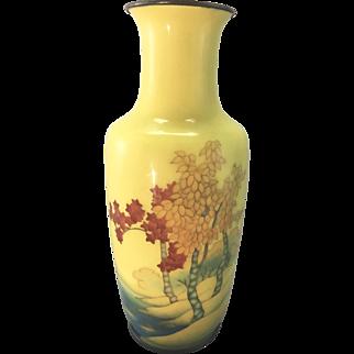 Vintage Ando Jubei Enamel Cloisonne Yellow Vase W Trees & Lake Signed Japan