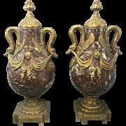 Pr 19th Century French Louis XVI Marble Urns Bronze Ormolu Swan Handles
