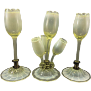 Victorian Opaline Vaseline Art Glass Epergne Bud Vases Garniture Powell
