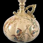 Antique Royal Crown Derby Porcelain Gourd Vase W Handle Pink Floral #677 England