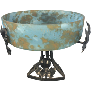 French Art Deco Wrought Iron Mottled Glass Bowl Compote
