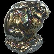 Vintage Fenton For Levay Iridescent Carnival Glass Easter Bunny Rabbit