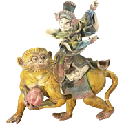 Vintage Chinese Roof Tile Warrior On Monkey W Peach Earthenware W Stand