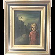 Original Signed Early Margaret Keane Framed Oil Painting Big Eye Girl On Street
