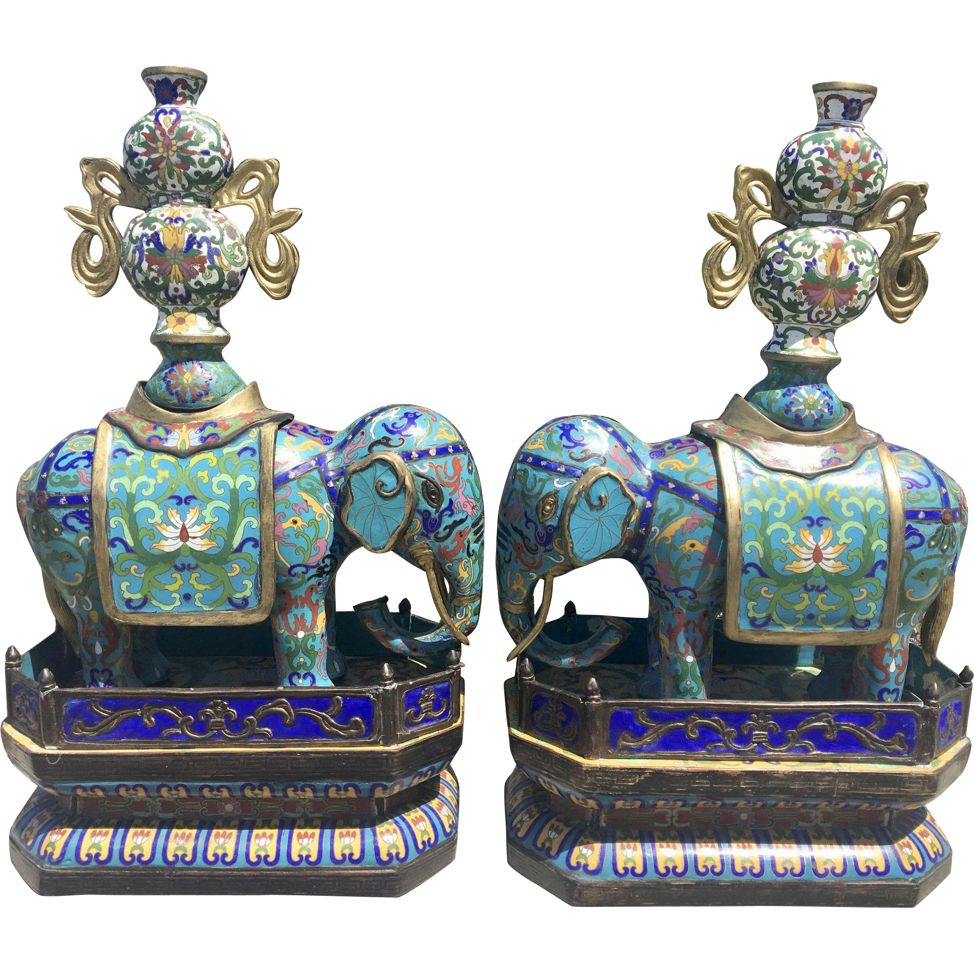Pair Old Chinese Cloisonné Enamel Elephants Candelabra Censers On Plinths Stands