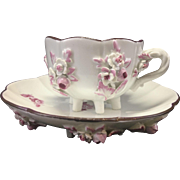 Vintage Meissen Porcelain Footed Demitasse Tea Cup & Saucer W Raised Flowers