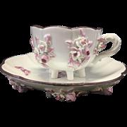 Vintage Meissen Porcelain Footed Demitasse Tea Cup & Saucer W Raised Flowers