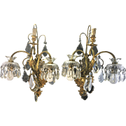 Pair Vintage Italian French Louis XVI Style Bronze Wall Sconces Lamps W Crystal Prisms