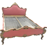 Vintage Carved Baroque Style Italian Polychrome French Bed