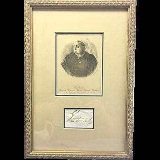 English Queen Victoria Royal Cut Signature Autograph Framed
