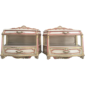 Vintage French Italian Floating Nightstands Marble Top Polychrome