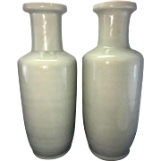 Pair Tall Vintage Chinese Porcelain Celadon Rouleau Vases Kangxi Mark 20th C Longquan