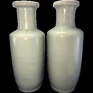 Pair Tall Vintage Chinese Porcelain Celadon Rouleau Vases Kangxi Mark 20th C Longquan