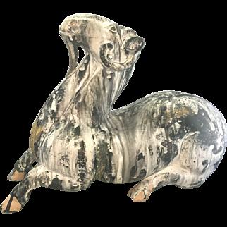 Chinese Earthenware Terra-Cotta Recumbent Ram Goat Sculpture