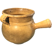 Antique French Earthenware Pottery Confit Pot Terra Cotta W Handle Mustard Color