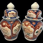 Pr Old Asian Japanese Porcelain Imari Lidded Jarlets Mini Ginger Jars