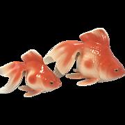 Pair Vintage Noritake Nippon Bone China Fantail Goldfish Figurines