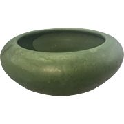 Zanesville Art Pottery Matte Green Low Bowl Planter Arts & Crafts Prairie / Mission Style
