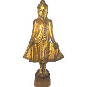 Antique Asian Burmese Standing Buddha Gilt Wood Jeweled Lacquer