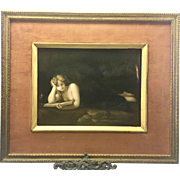 Antique KPM Germany Porcelain Tile Partial Nude Mary Magdalene By Caravaggio