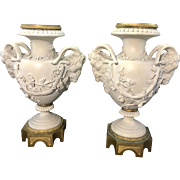 Pair Antique French Sevres Bisque Porcelain Ram Head Urns Vases Bronze Ormolu