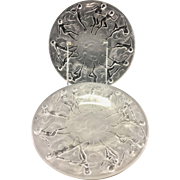"4 Consolidated Art Deco Glass Martelè Dancing Nymph Nudes 8"" Salad Plates"