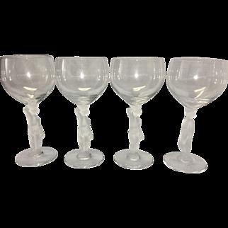 4 Vintage French Bayel Art Glass Wine Goblets Crystal Satin Nude Bacchus Stem