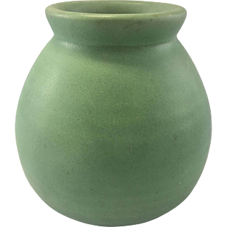 Arts & Crafts Teco Pottery Vase Matte Green Mission Style