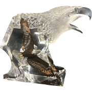 Kitty Cantrell Acrylic Lucite American Eagle Sculpture With Metal Or Bronze Soaring Eagle Inside
