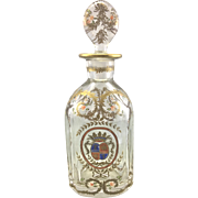 Antique French European Crystal Glass Decanter Enameled Coat of Arms Fleur De Lis