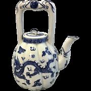 Vintage Small Chinese Blue White Porcelain Melon Teapot Dragon Signed Wanli