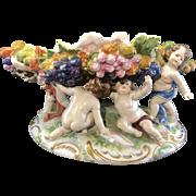 Antique Aelteste Volkstedter Oldest Volkstedt Porcelain Center Bowl Compote Cherubs Germany