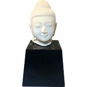 Vintage Asian Thai Alabaster Marble Buddha Head On Wood Base Ayutthaya