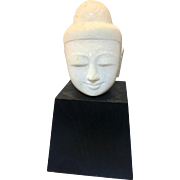 Vintage Asian Thai Alabaster Granite Buddha Head On Wood Base Ayutthaya
