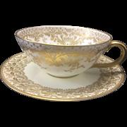 Tiffany & Co Royal Doulton Gilt Porcelain Cup & Saucer