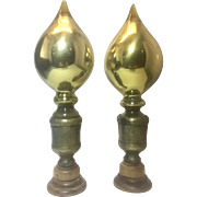 Pair Antique Gold Mercury Glass Newel Post Finials On Pegged Base