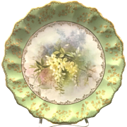Antique Victorian Royal Doulton & Slater Porcelain Painted Floral Bouquet Plate By C. Hart