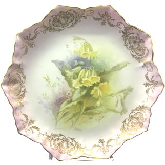 Antique Victorian Royal Doulton & Slater Porcelain Painted Floral Bouquet Plate By C. Hart