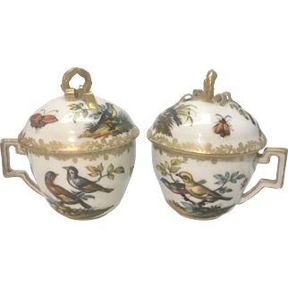 Pr Antique Helena Wolfsohn German Porcelain Mini Chocolate Cups Germany Birds Insects