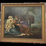 Antique European Old Master Framed Oil Painting Holy Family Flight Into Egypt