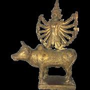 19th C Asian Thai Lord Shiva On Nandi Bull Bronze Sculpture